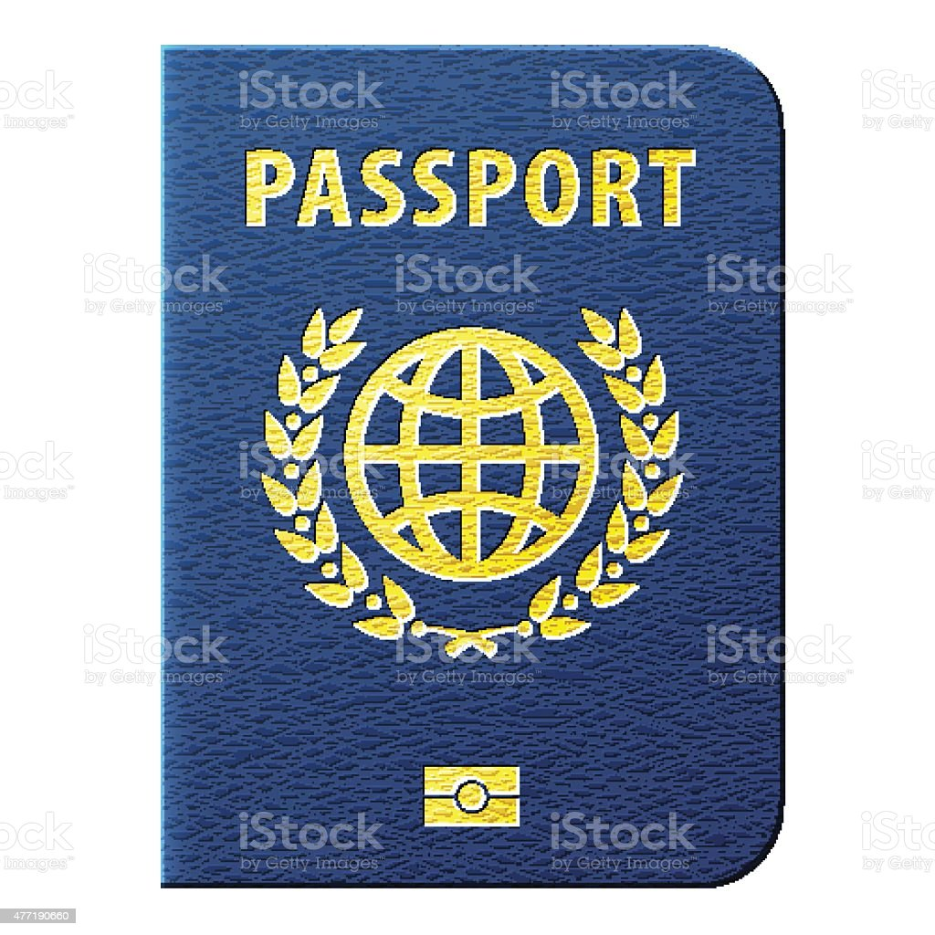 Blue passport isolated on white background vector art illustration