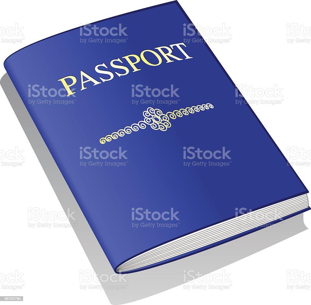 Blue Passport vector art illustration