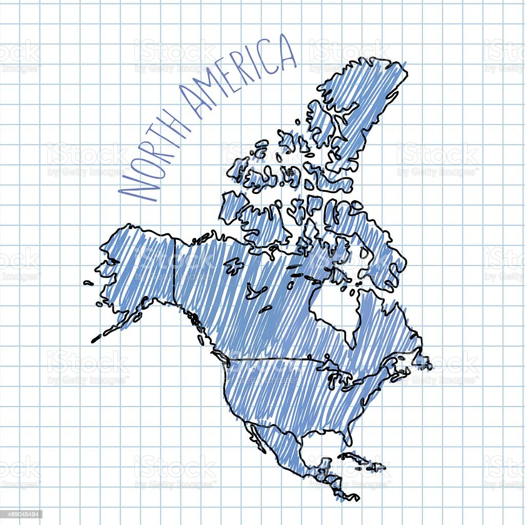 Blue Pen Hand Drawn North America Map Vector On Paper Stock Vector - Map of north america activity