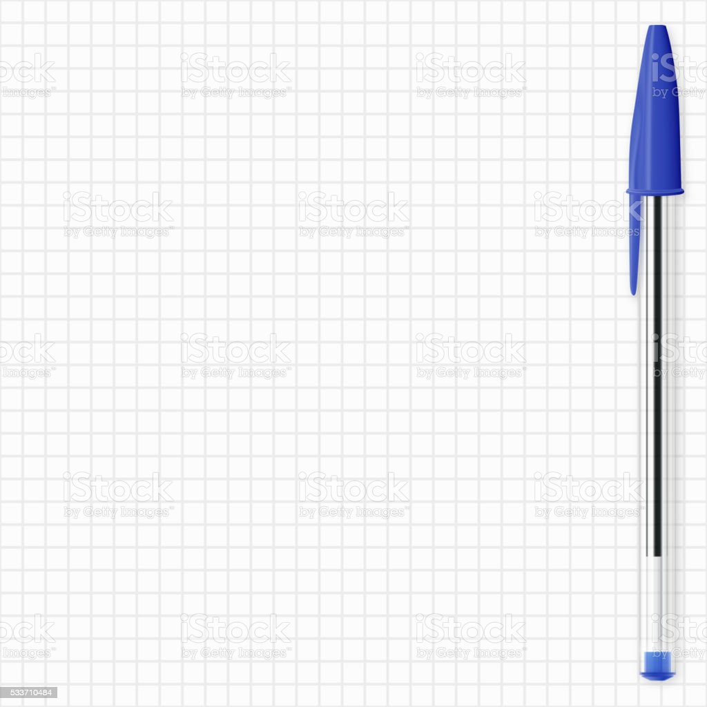 Blue pen isolated on grid paper - Ballpoint pen vector art illustration