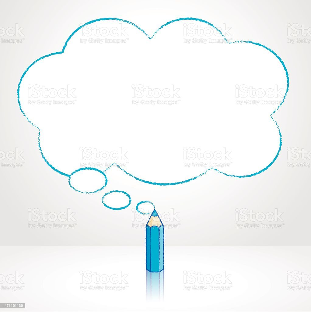 Blue Pencil Drawing Fluffy Cloud Thought Balloon vector art illustration