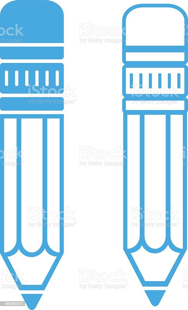 Blue pencil icons vector art illustration