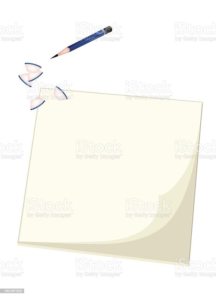Blue Pencil Lying on Blank Sketchbook vector art illustration