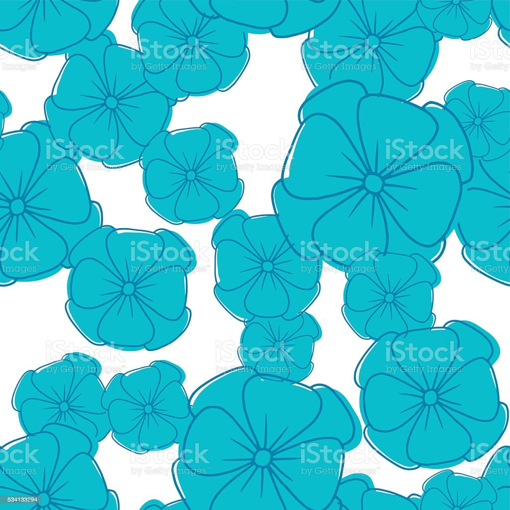 Blue petunias on a white background, seamless pattern vector art illustration