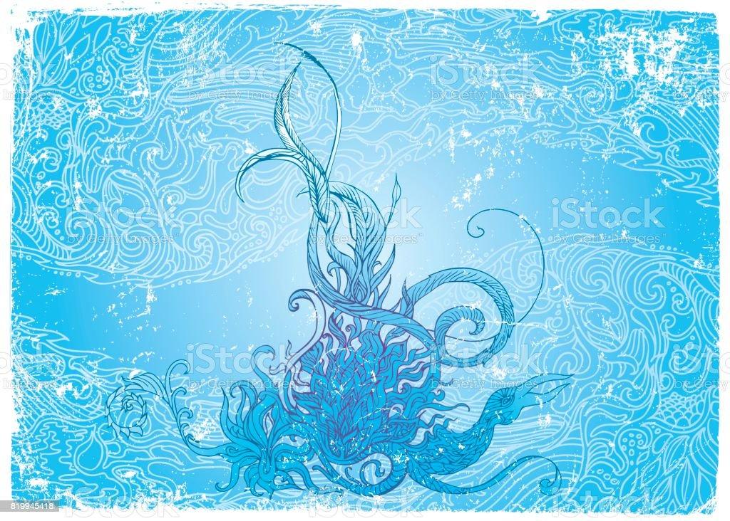 Blue phoenix vector art illustration