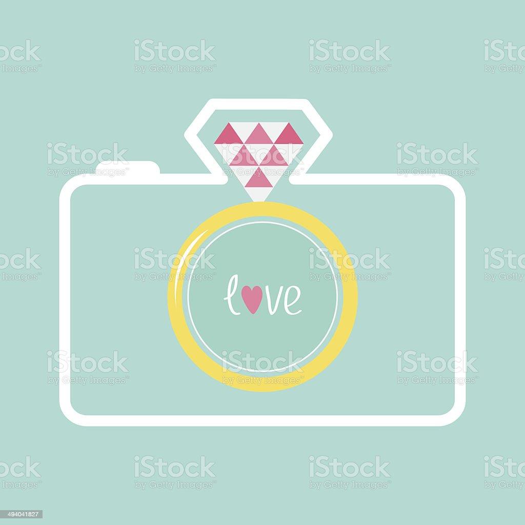 Blue photo camera with gold wedding ring lens. Diamond flash vector art illustration