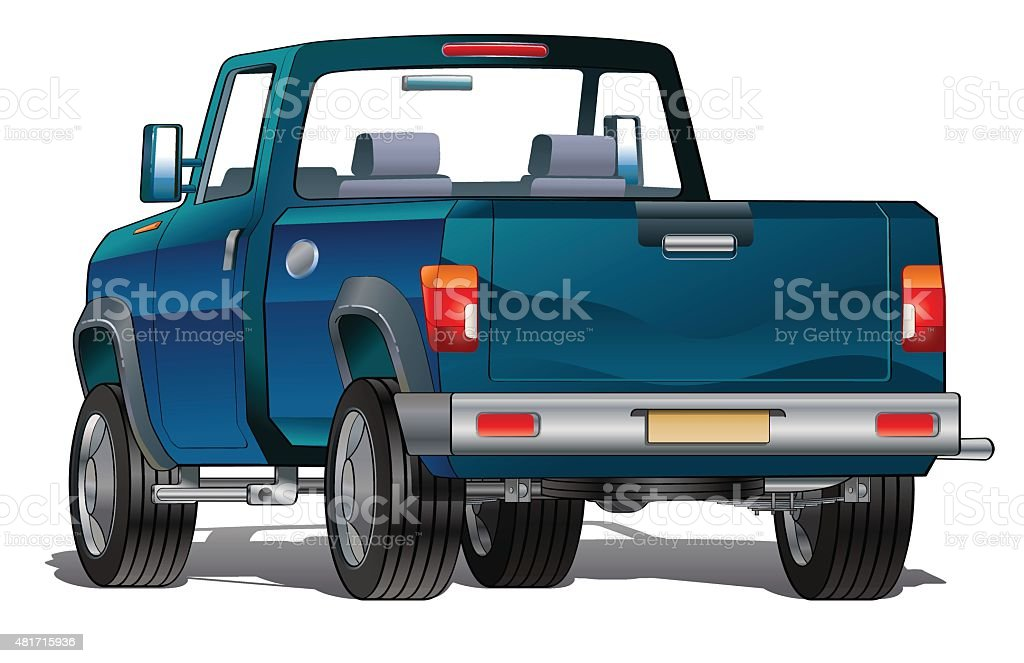 Blue pick up vector art illustration