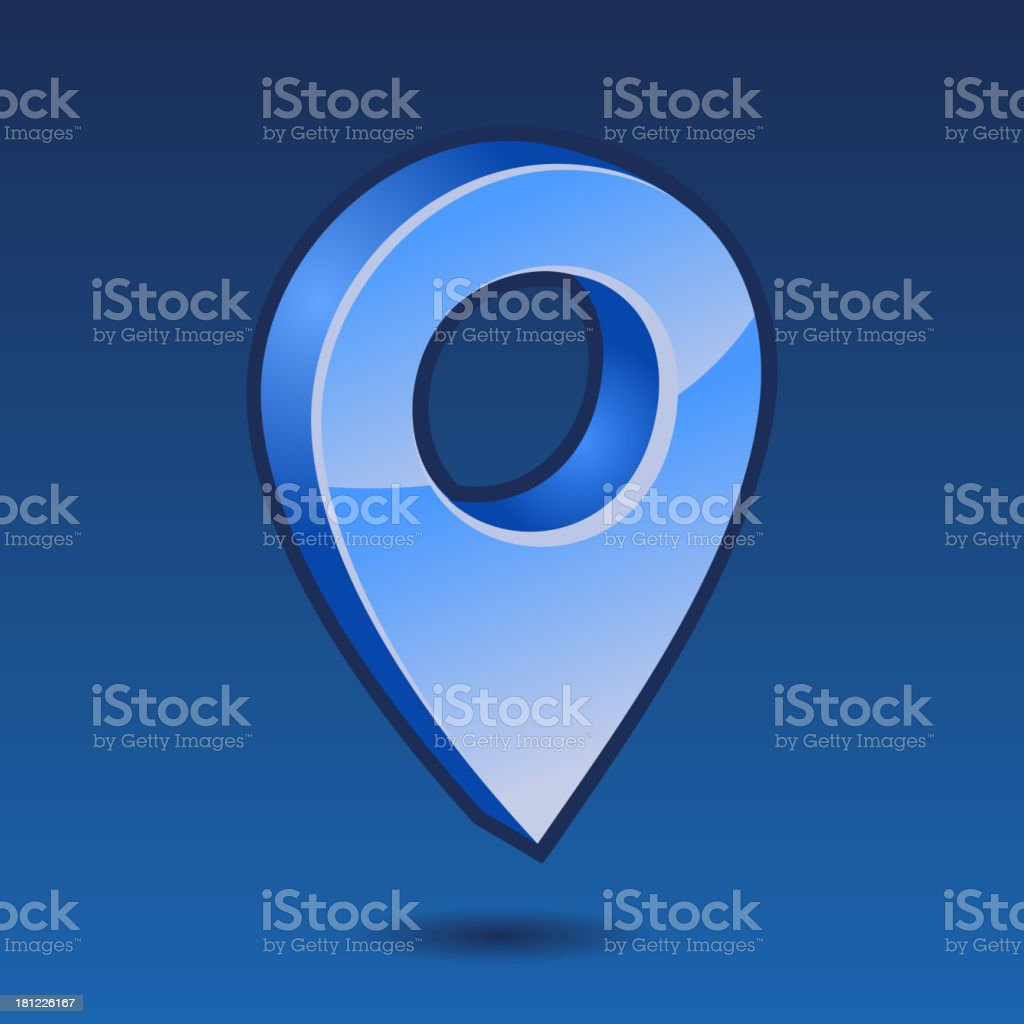 Blue pin 3D vector royalty-free stock vector art