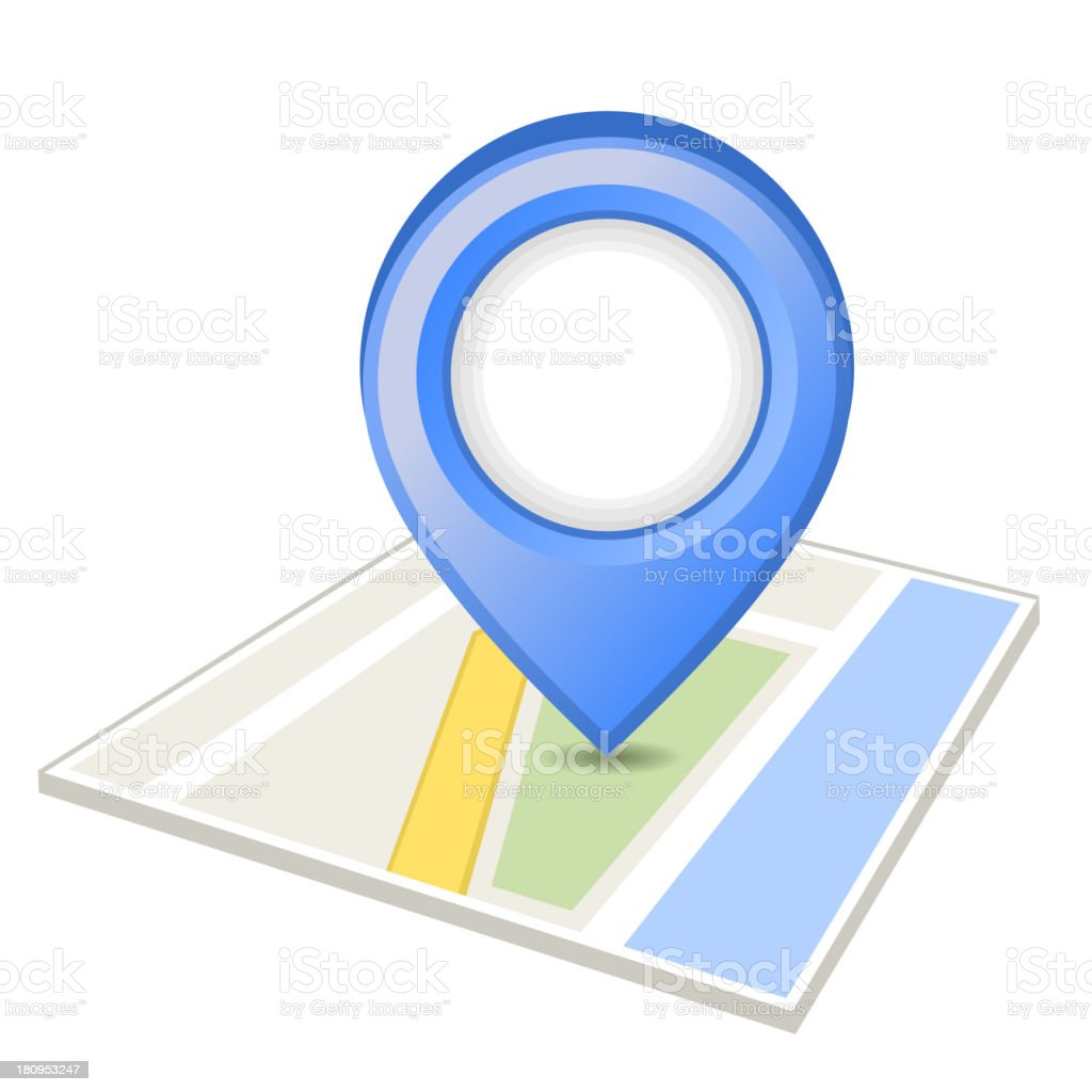 Blue pin on map royalty-free stock vector art