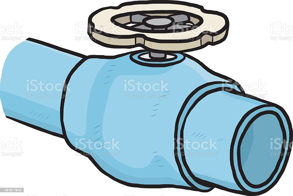 blue pipe with valve vector art illustration