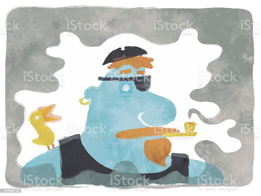 Blue Pirate Smoking vector art illustration