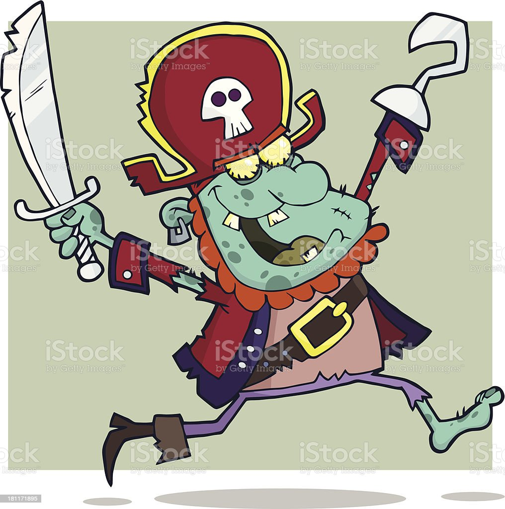 Blue Pirate Zombie With Background royalty-free stock vector art