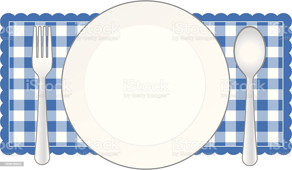 Blue Place Setting Banner royalty-free stock vector art