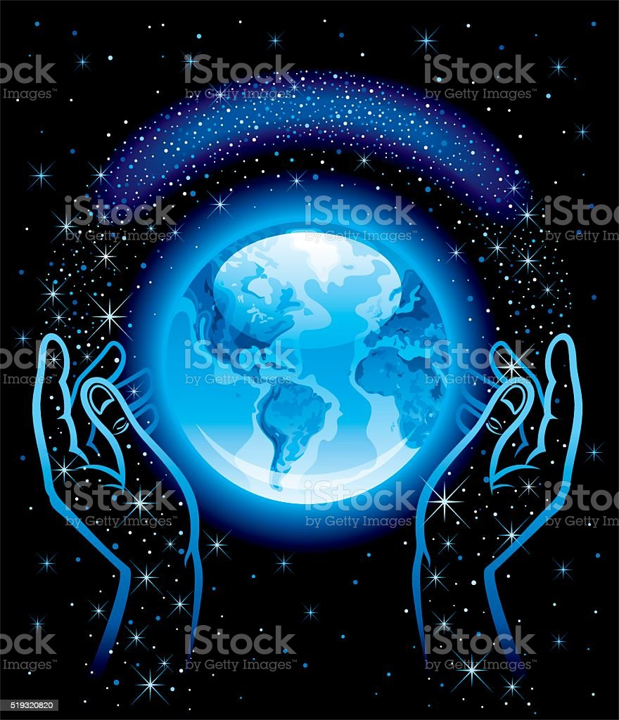 Blue planet, hands and space with stars vector art illustration