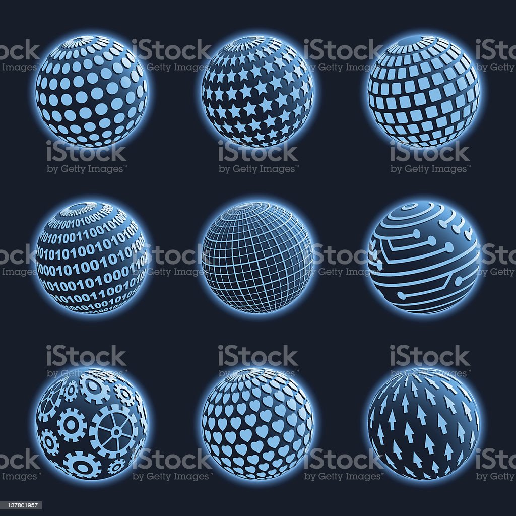 Blue planet icons set. Vector illustration. royalty-free stock vector art