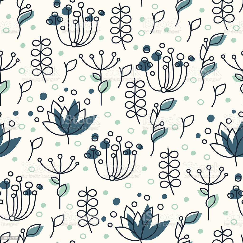 Blue plant pattern royalty-free stock vector art