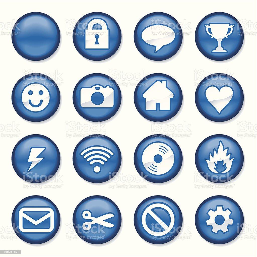 Blue Plastic Buttons vector art illustration