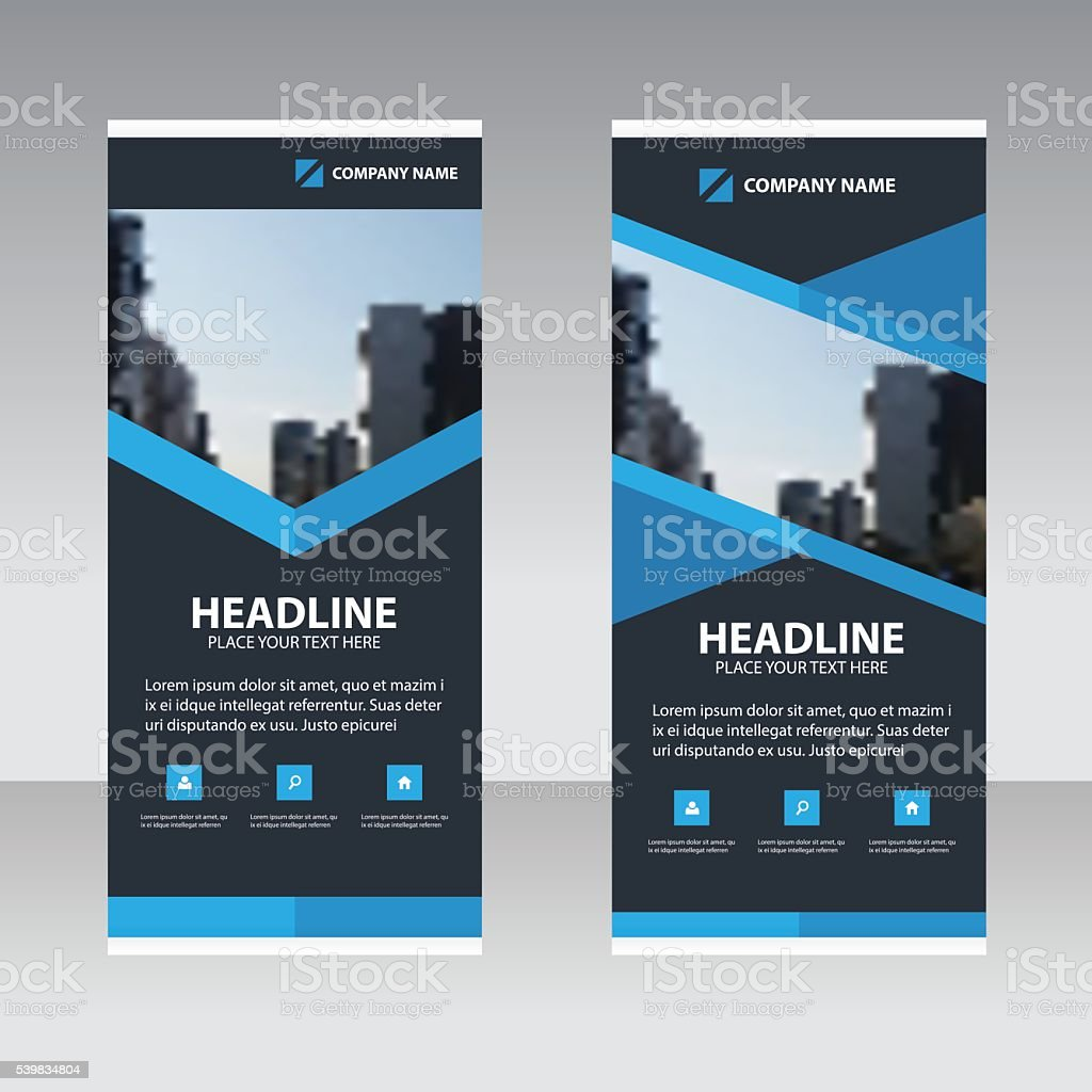 Blue polygon Business Roll Up Banner flat design template vector art illustration