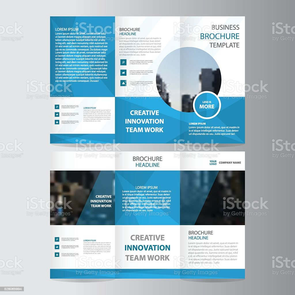 custom brochure templates - blue polygon business trifold business leaflet brochure