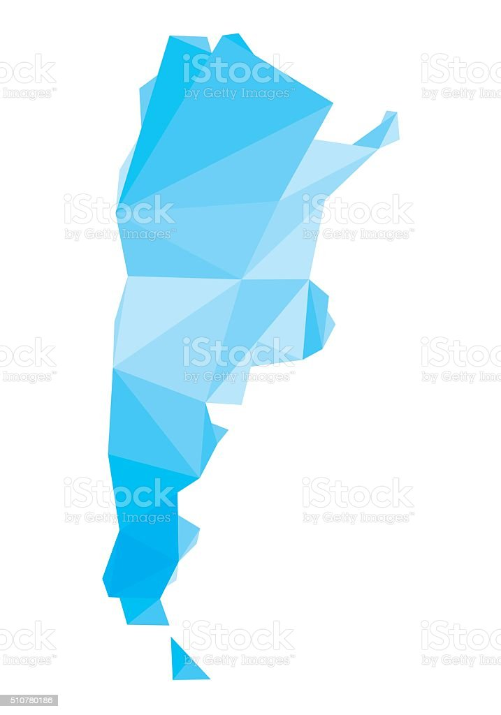 blue polygonal map of Argentina vector art illustration