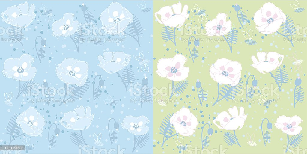 Blue poppies pattern royalty-free stock vector art