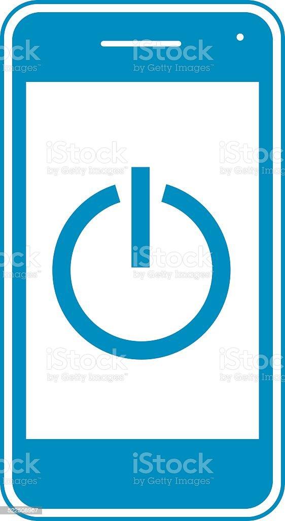 Blue Power Button Smart Phone vector art illustration