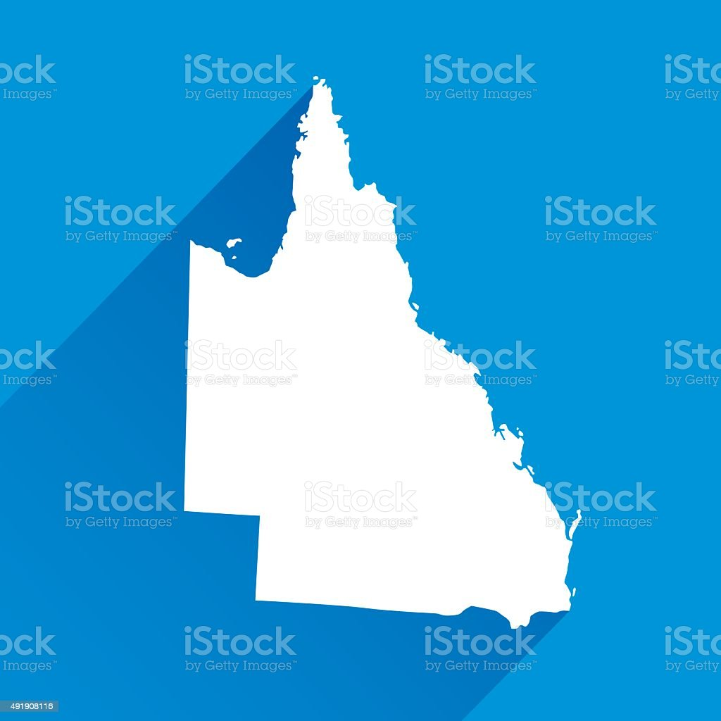 Blue Queensland Map Icon vector art illustration