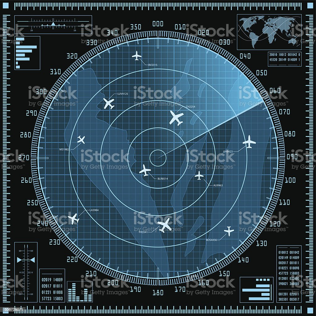 Blue radar screen with planes vector art illustration