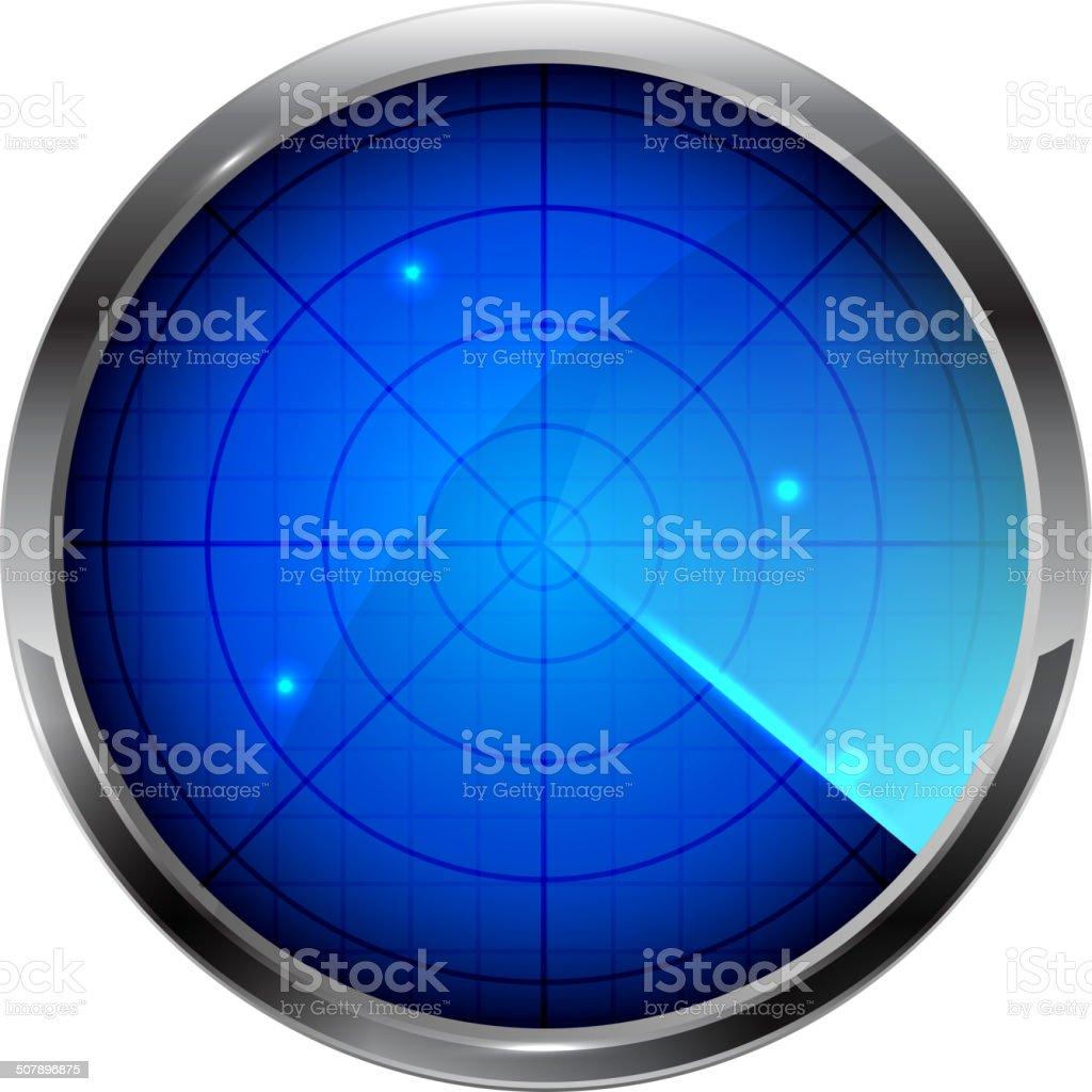 Blue radar vector art illustration