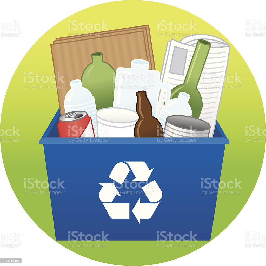Blue recycling bin filled with bottles and paper royalty-free stock vector art
