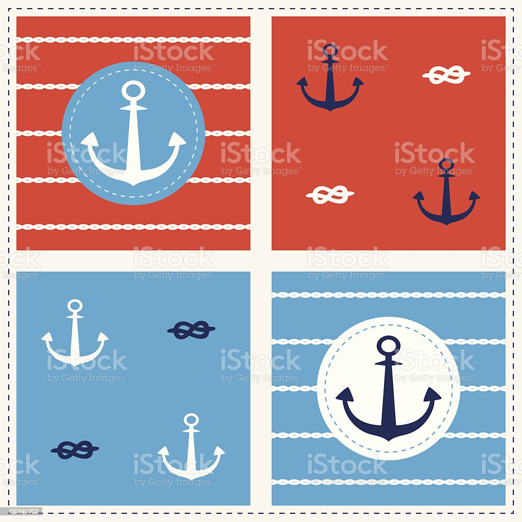 Blue red anchor and knots pattern royalty-free stock vector art