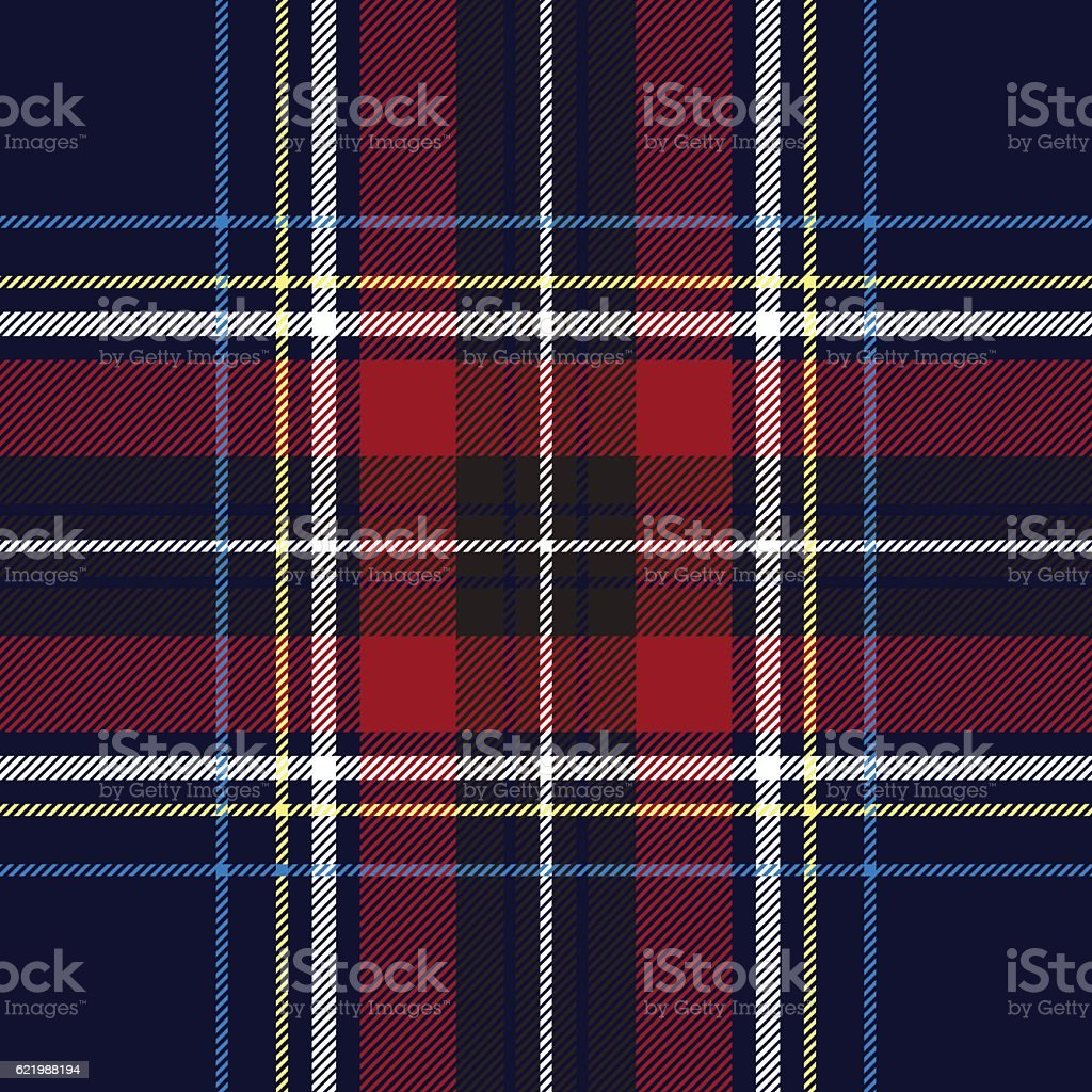 Blue red check plaid texture seamless pattern vector art illustration