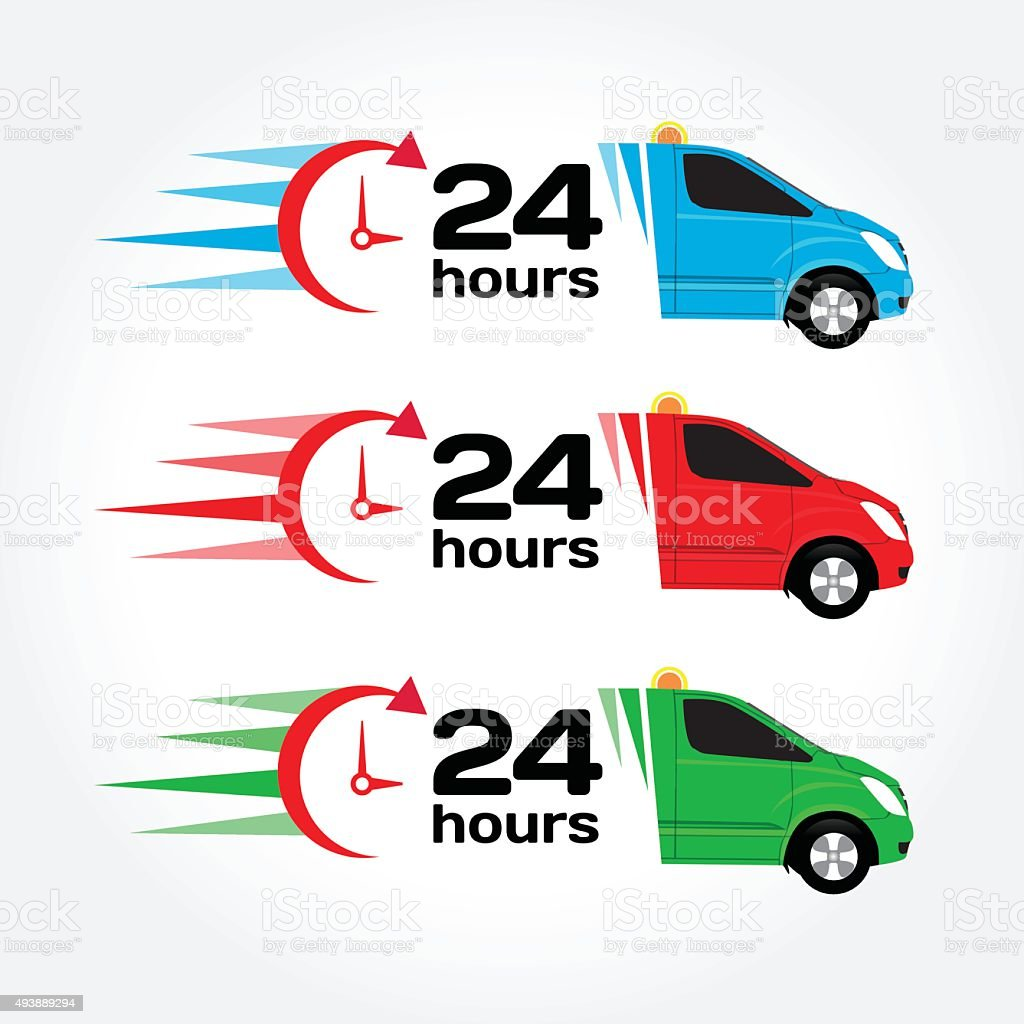 Blue, red, green emergency/urgent car. Shipping car. Delivery car. vector art illustration
