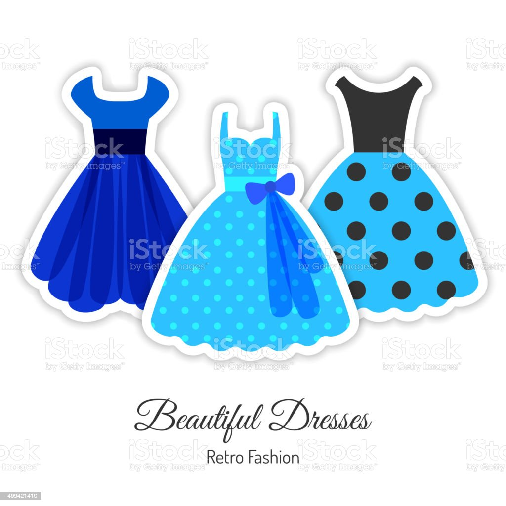 Blue Retro Dresses Background vector art illustration