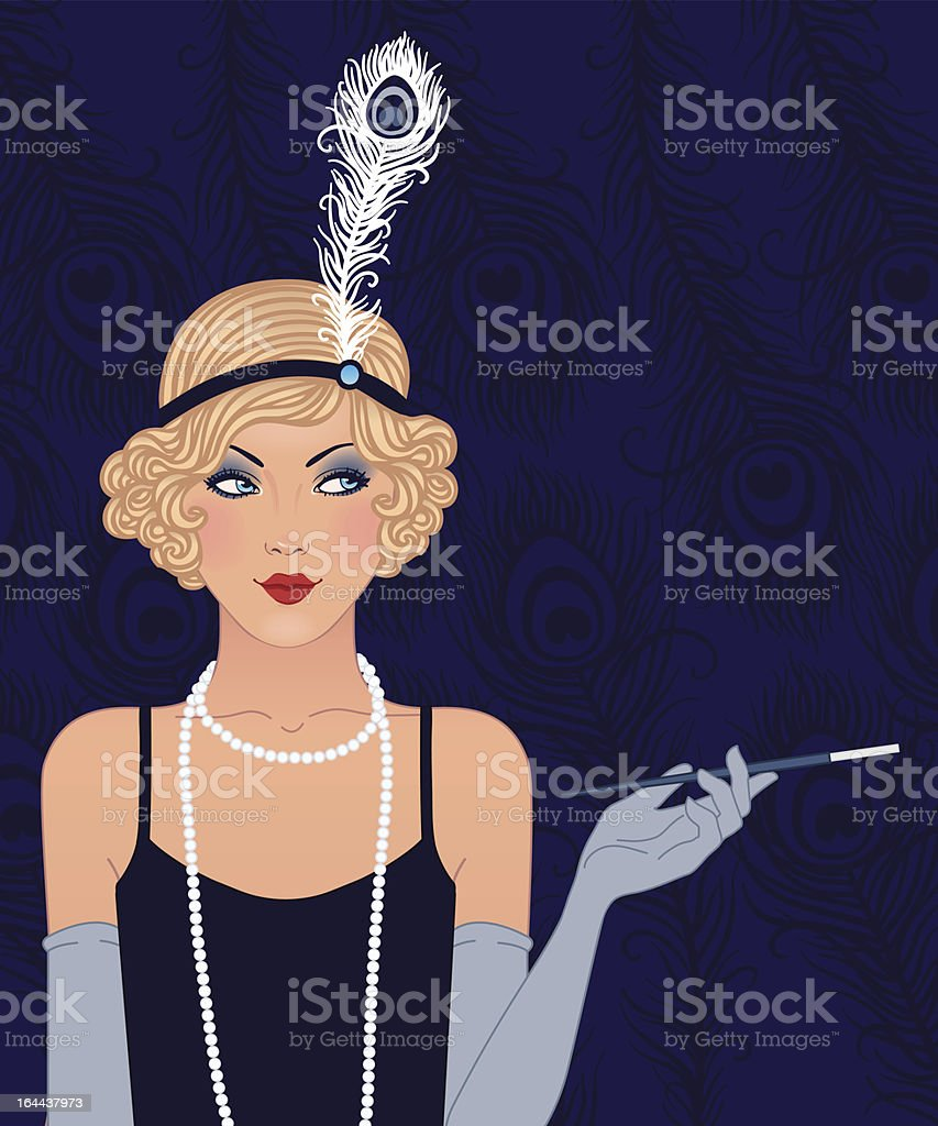 Blue retro party invitation design (1920's) vector art illustration