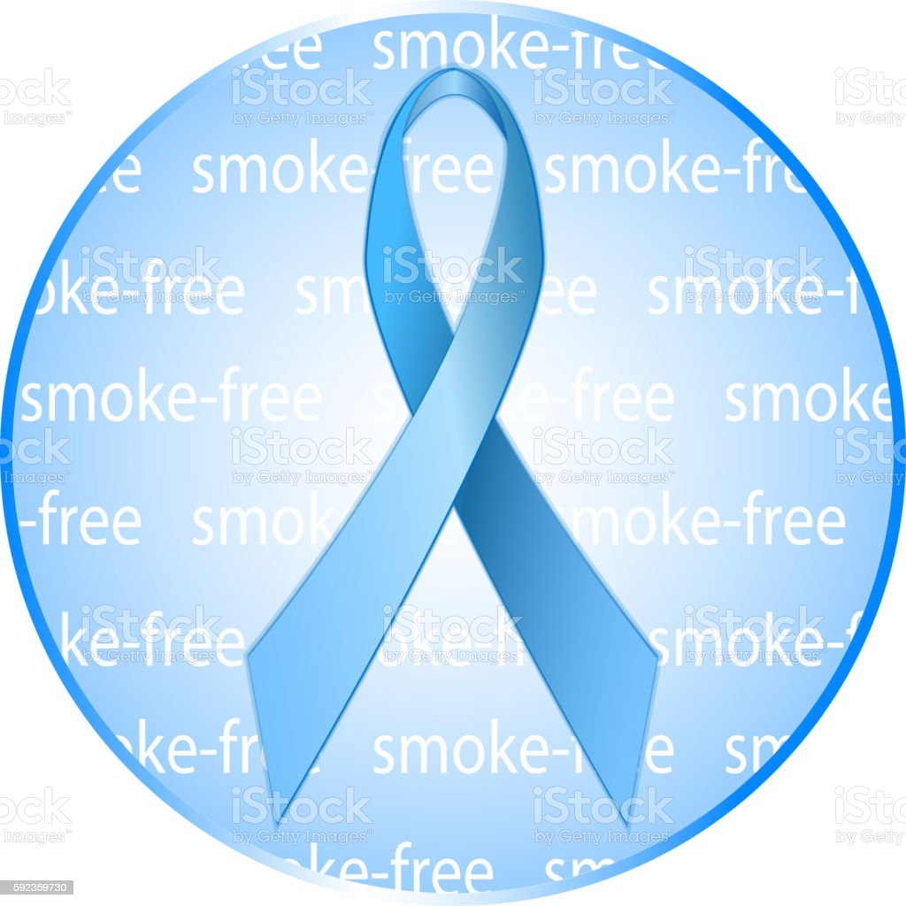 Blue ribbon as a symbol of anti-tobacco.  Round badge, icon. vector art illustration