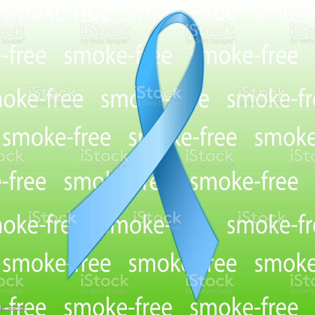 Blue ribbon as a symbol of anti-tobacco. vector art illustration