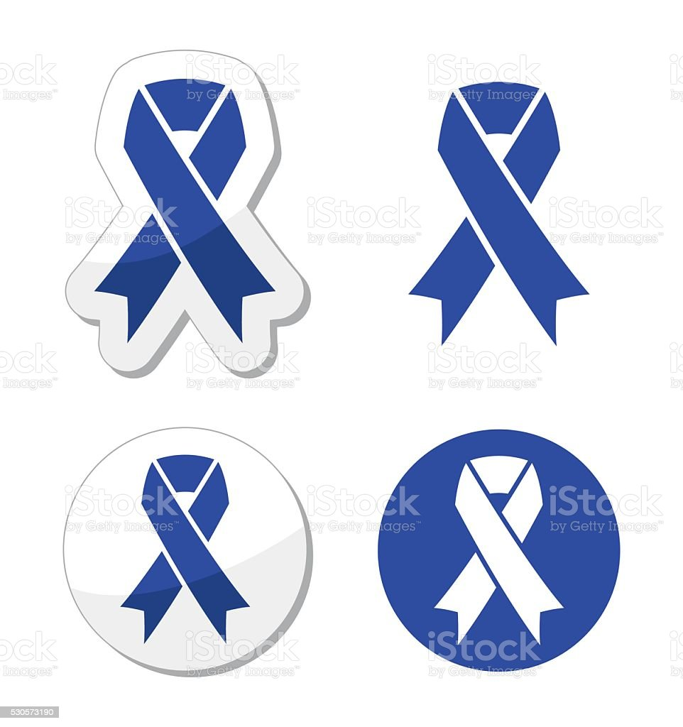 Blue ribbon - drunk driving, child abuse, anti-tobacco awareness symbol vector art illustration