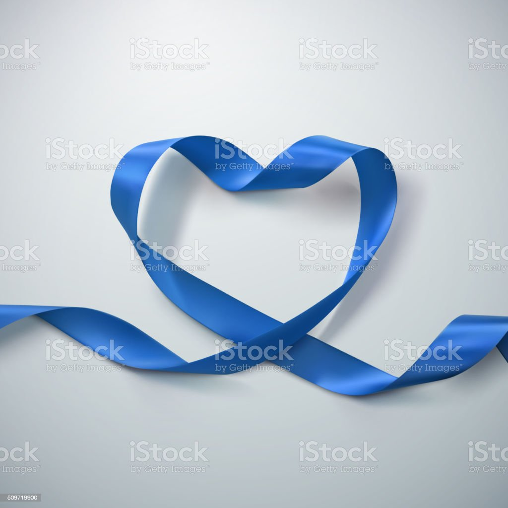 Blue Ribbon Heart. vector art illustration