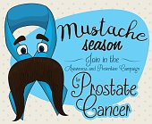 Blue Ribbon with Mustached Face for Prostate Cancer Campaign
