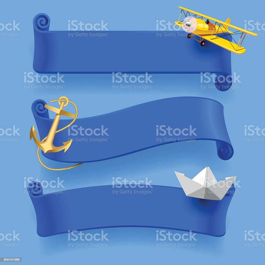 Blue ribbons with yellow plane, gold anchor and paper boat. vector art illustration