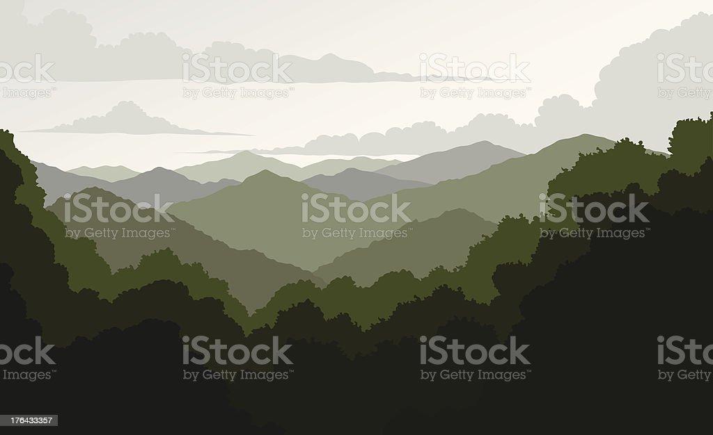 Blue Ridge Mountains vector art illustration