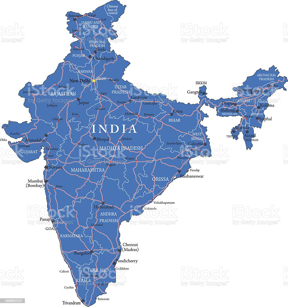 Blue road map of India on a white background  royalty-free stock vector art