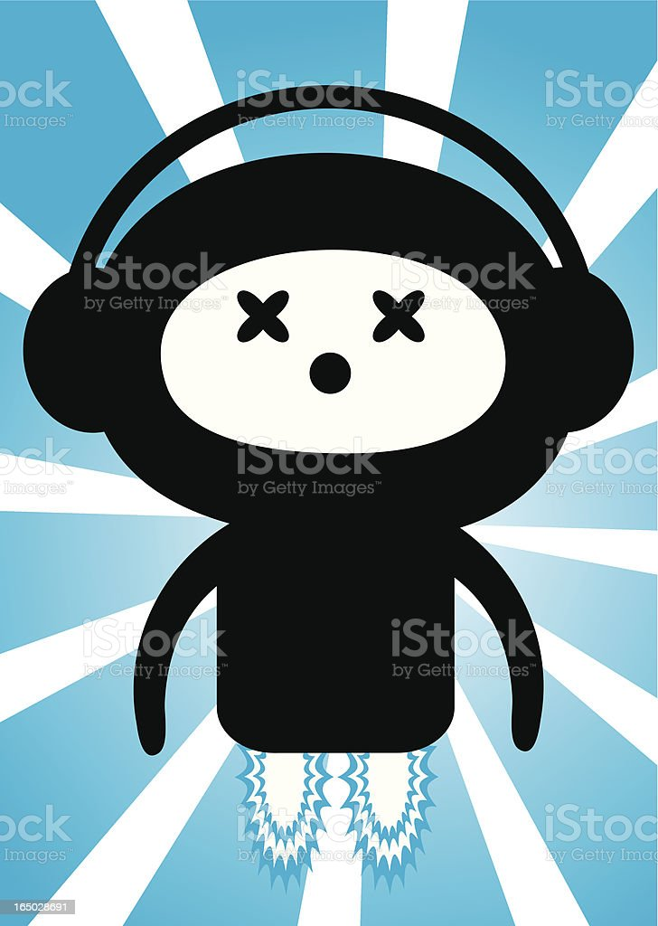 Blue Rocket Music Guy royalty-free stock vector art