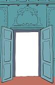 Blue Rococo Doors Illustration