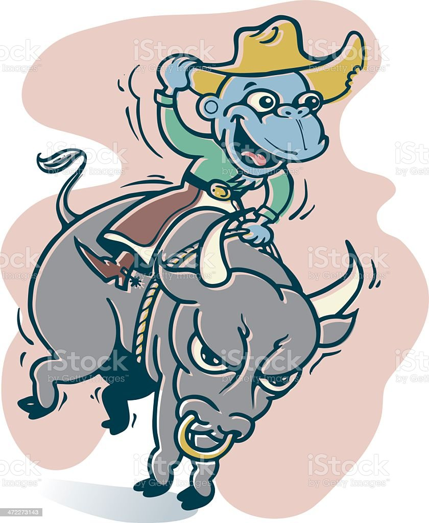 Blue Rodeo Monkey Cowboy Rides Again vector art illustration