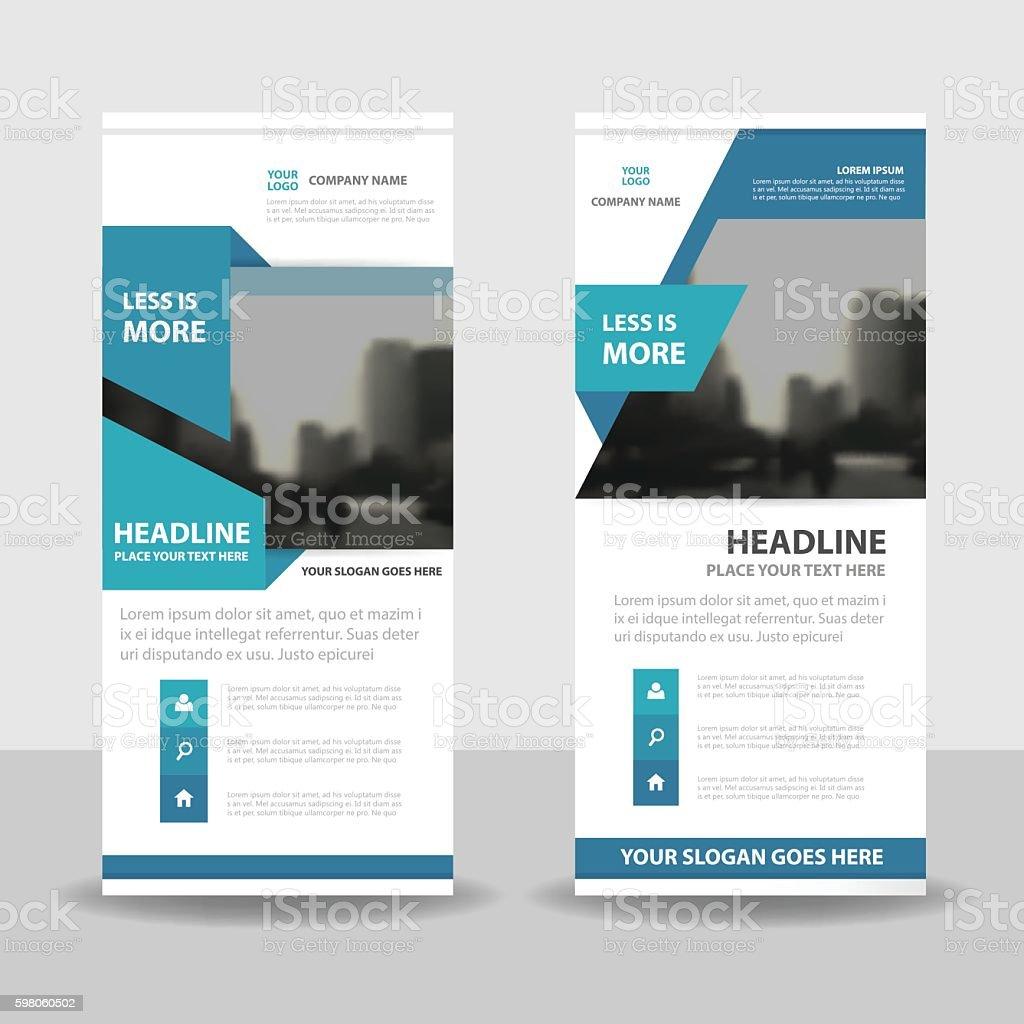 Blue roll up business brochure flyer banner design , cover presentation vector art illustration