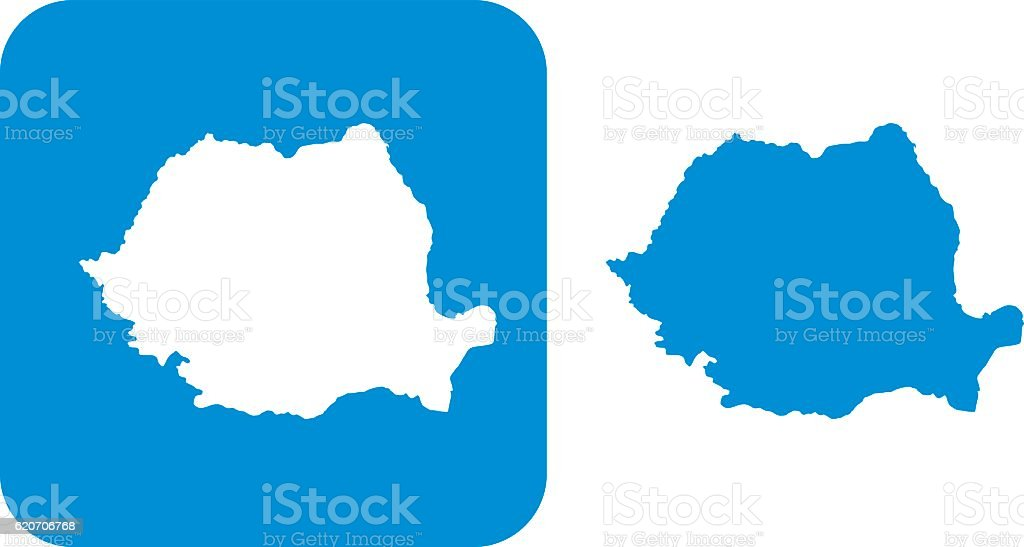 Blue Romania Icons vector art illustration