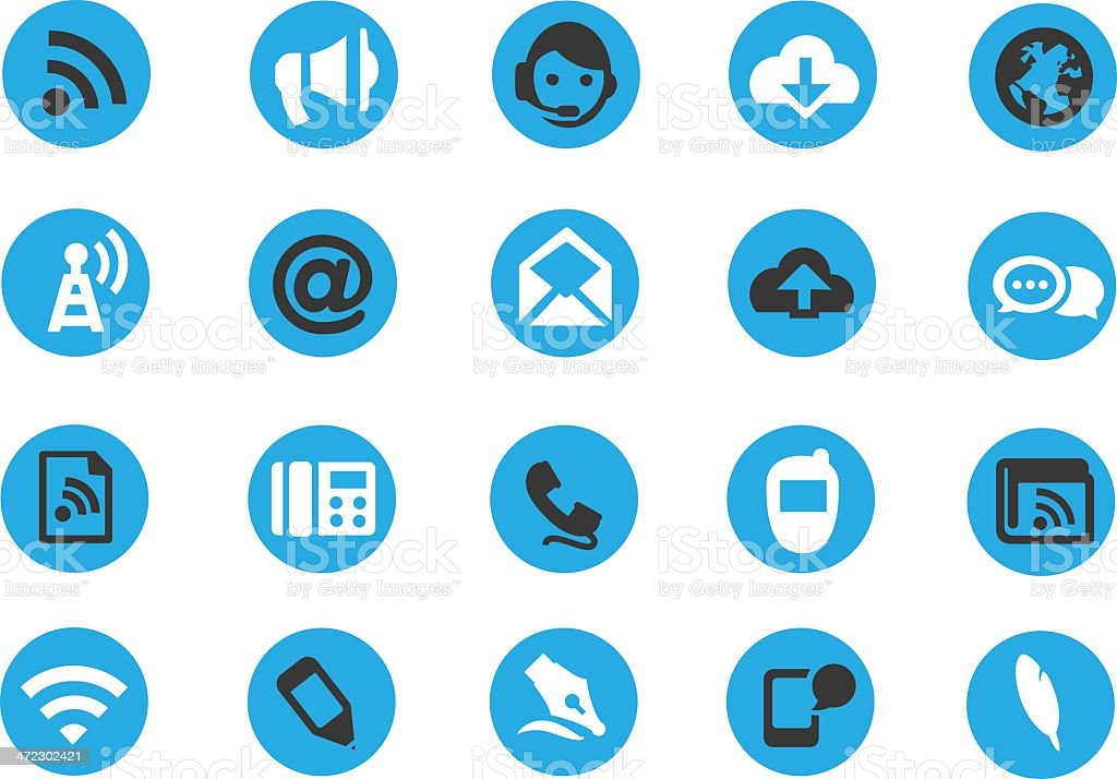 Blue Round Communication Icons royalty-free stock vector art