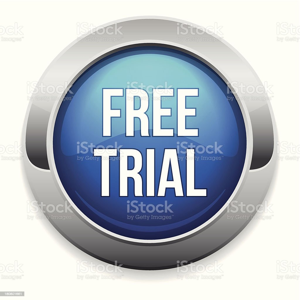 Blue round free trial button royalty-free stock vector art